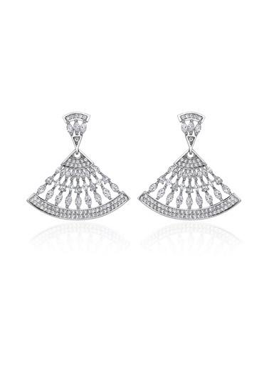Tophills Diamond Co. 4,80 Ct Pırlanta Efekt  Altın  Sapphire Vals Küpe Renkli